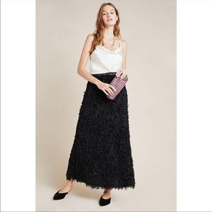 NWT NEW Anthropologie feathered maxi skirt